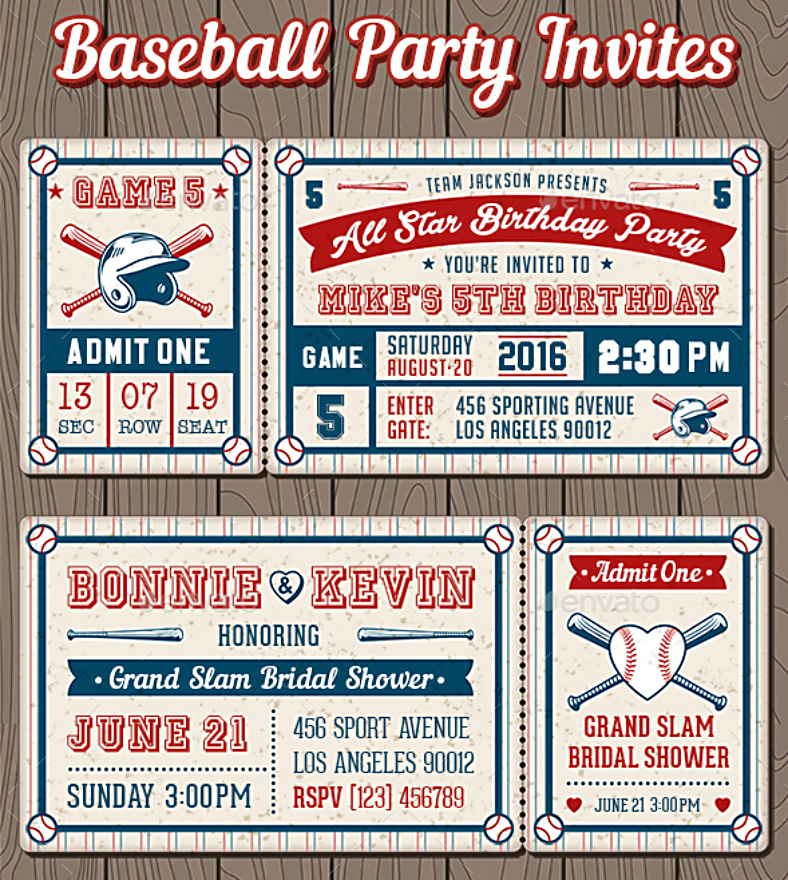 Retro Style Baseball Party Invitations