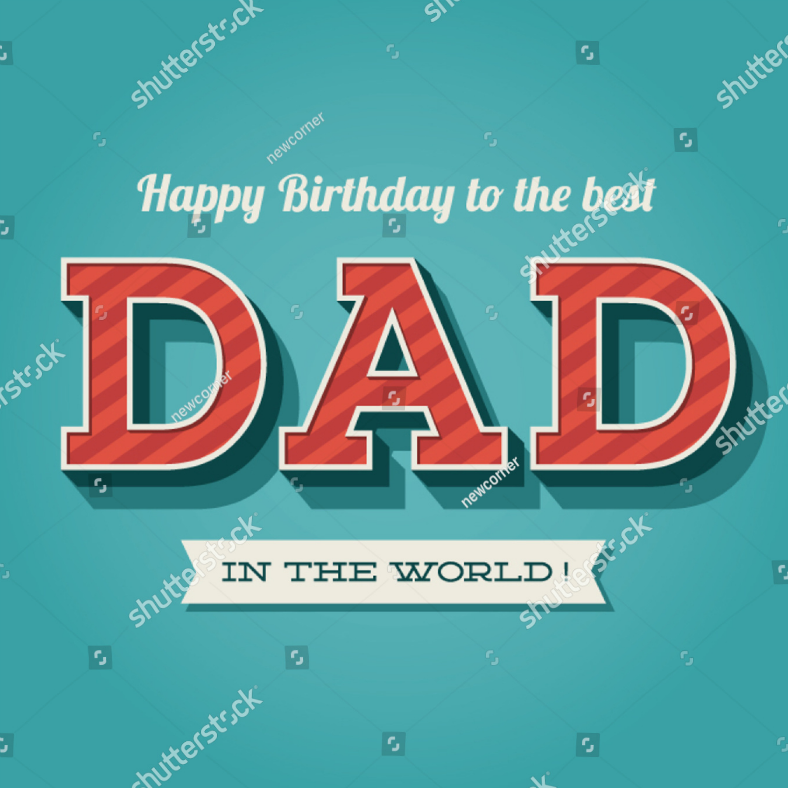 Retro Dad Birthday Card Template