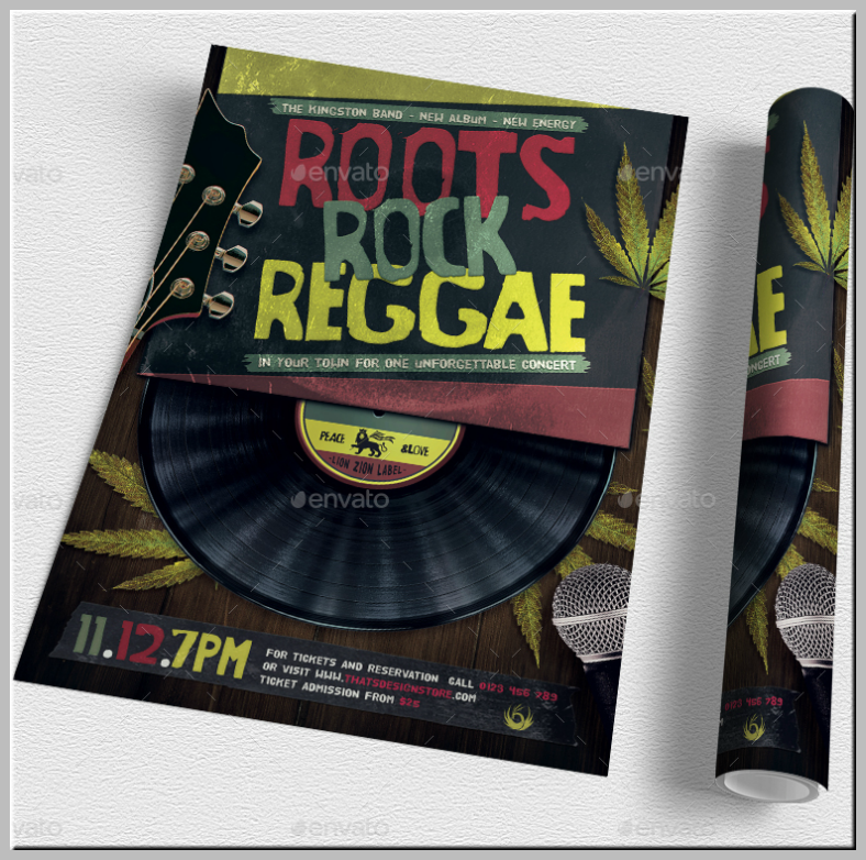 Roots Rock Reggae Cannabis Flyer Template