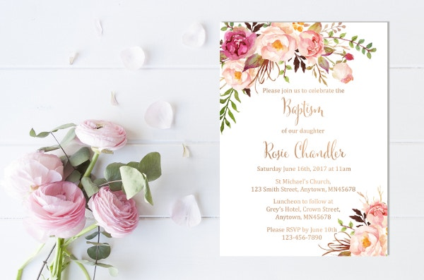 Rose Gold Christening Invitation Template