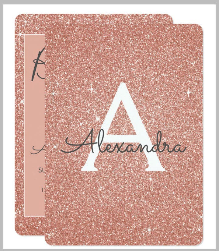 rose gold glitter girly birthday party card template