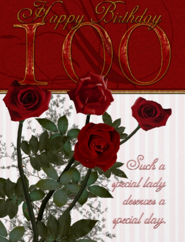 Roses 100th Birthday Card