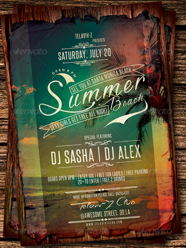rustic beach party flyer template 788x1050