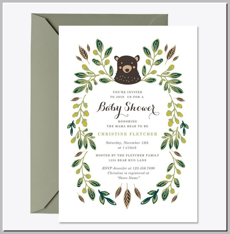 Rustic Bear Baby Shower Invitation