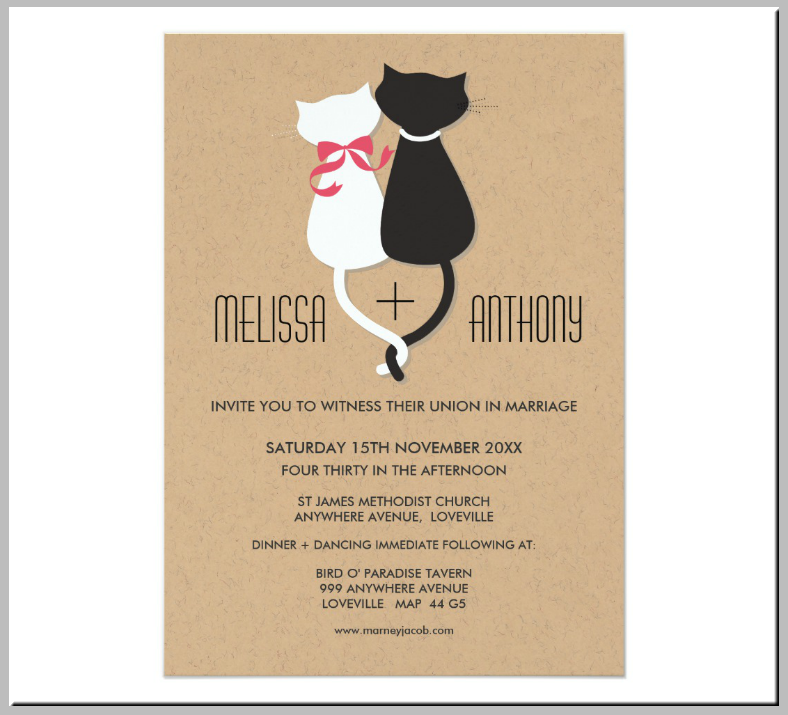 Rustic Kitty Wedding Invitation Template