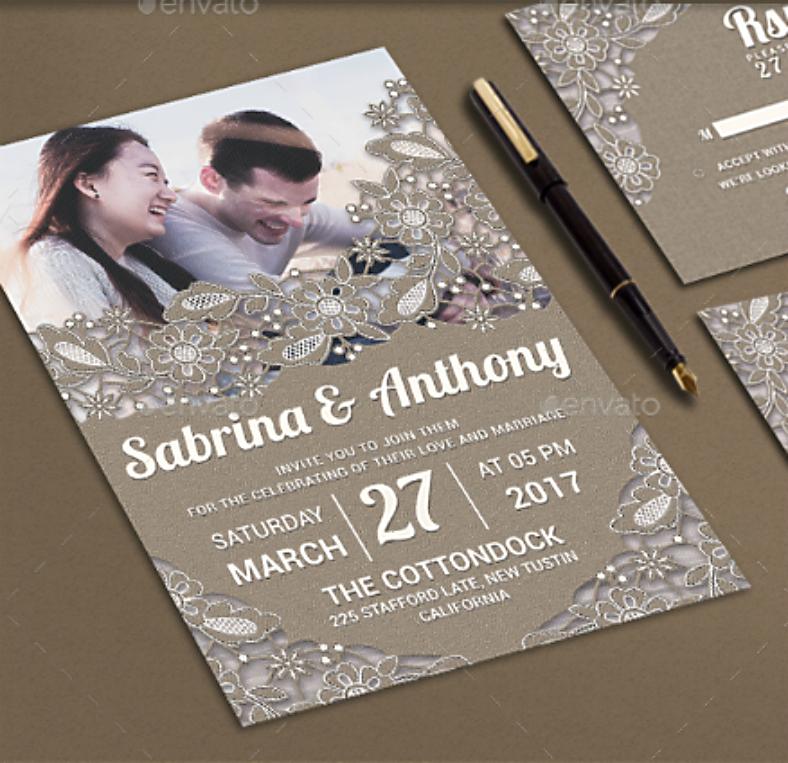 Rustic Lace Wedding Invitation Format