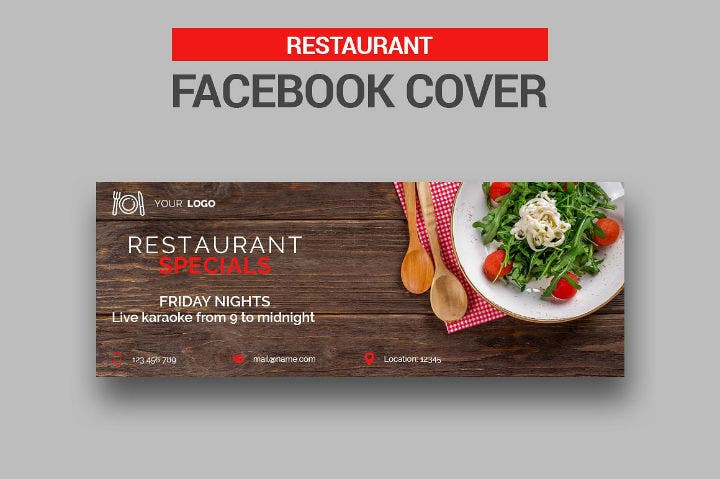 rustic restaurant facebook cover timeline template