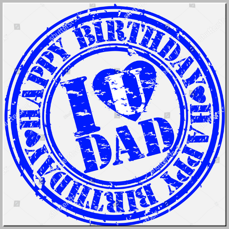 Rustic Stamp Dad Birthday Card Template