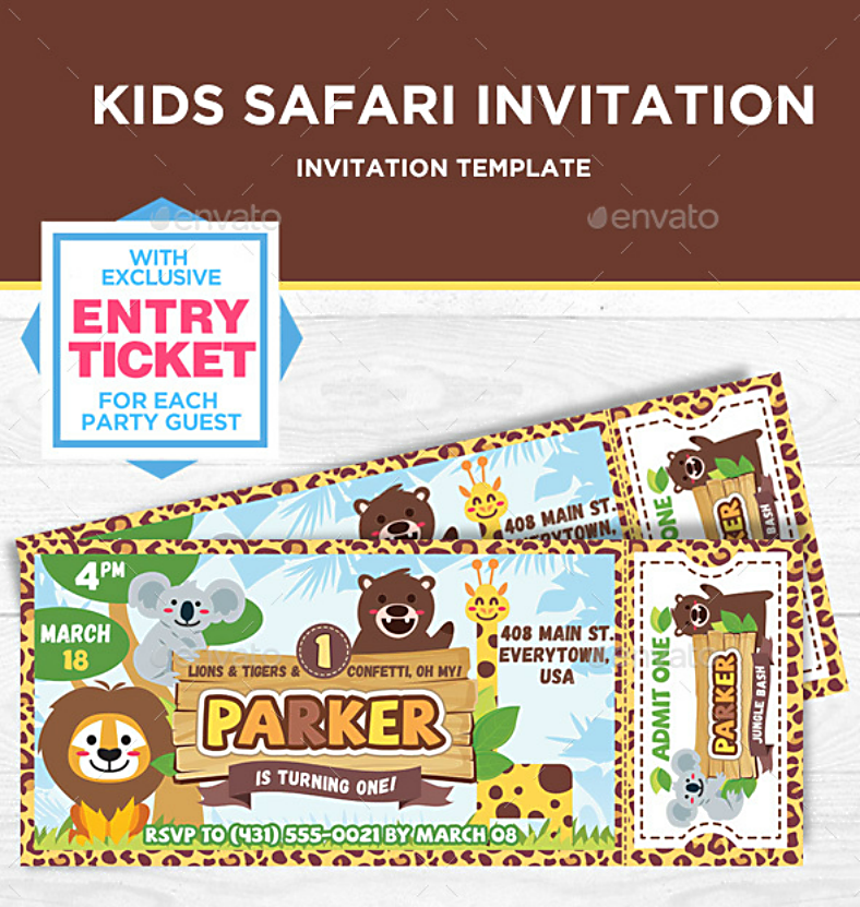 safari ticket birthday party invitation 788x831