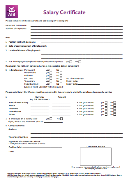 aib business plan template - 4 salary pay certificate templates pdf free premium