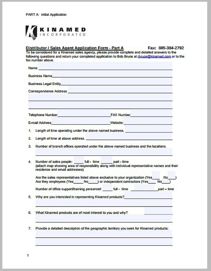 sales distributor application form template