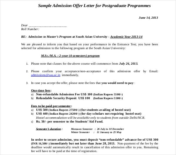 sample admission offer letter for post graduates