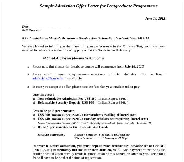 10+ Admission Letter Templates - PDF, DOC | Free & Premium Templates