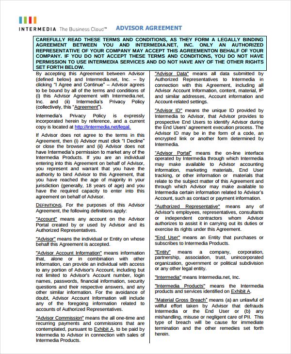 sample advisor agreement template