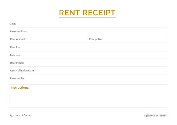 sample apartment rent receipt template