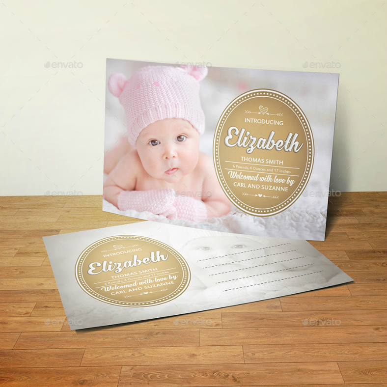 sample baby announcement postcard template 788x788