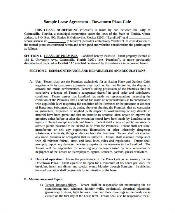 sample cafe lease agreement