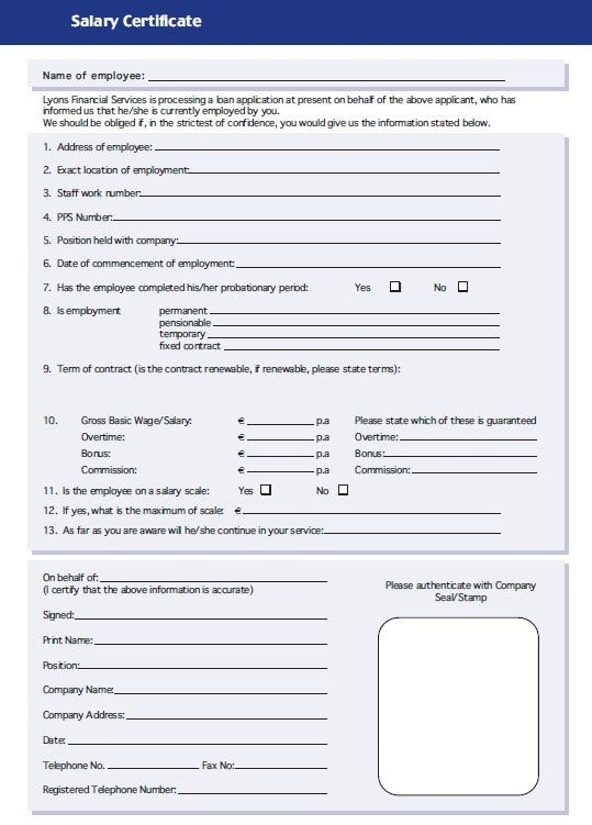 sample certificate of salary template