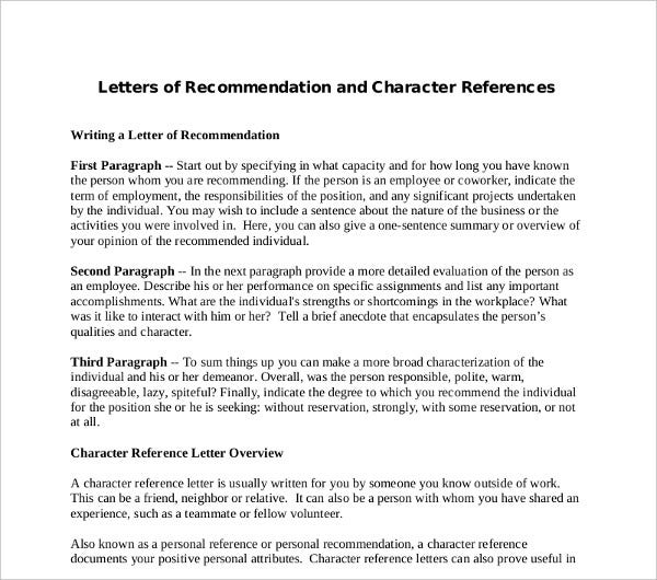 sample character letter of recommendation