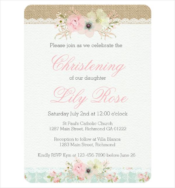 Sample Christening Invitation Template