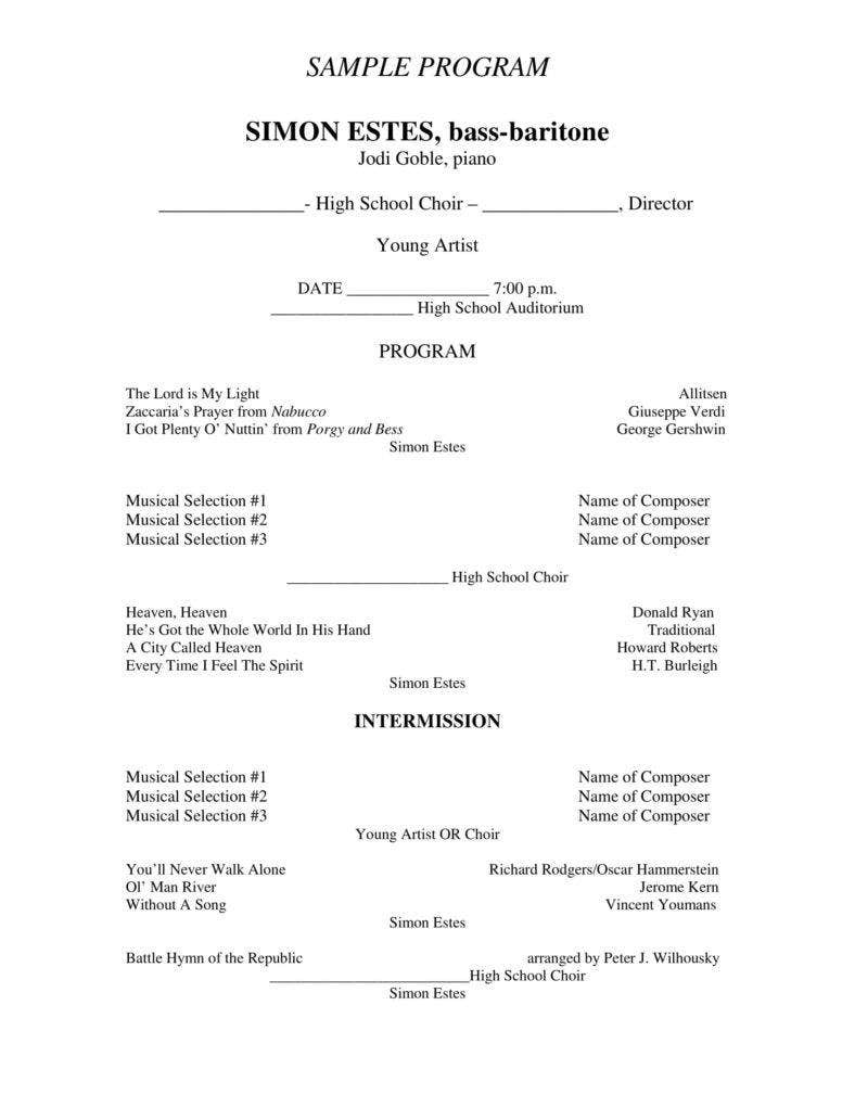 christmas concert program templates