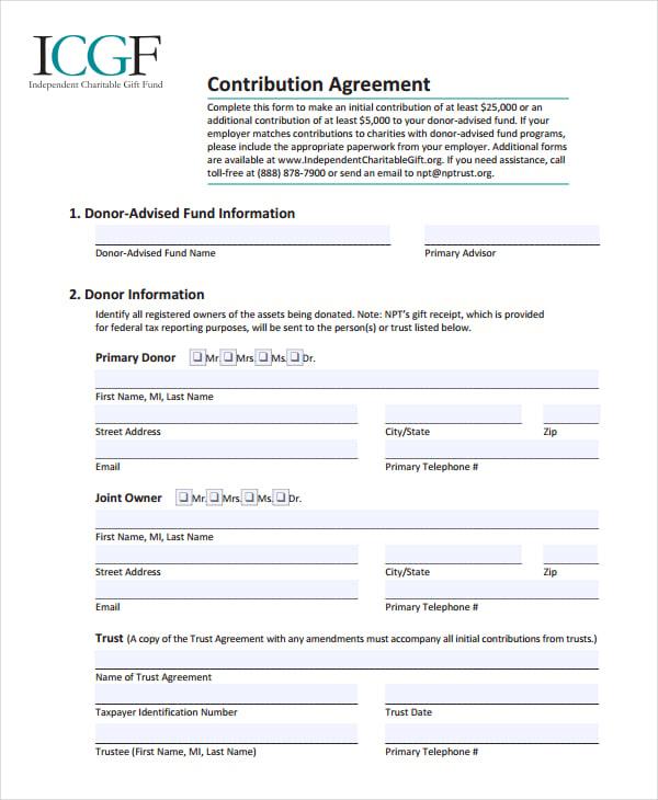 sample contribution agreement