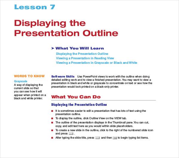 sample displaying presentation outline