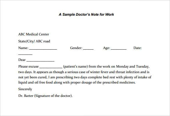 sample doctors note for legal work template