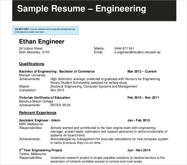 model resume for engineering students