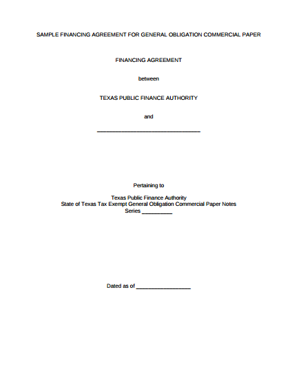 Sample Financing Agreement For General Obligation Commercial Paper