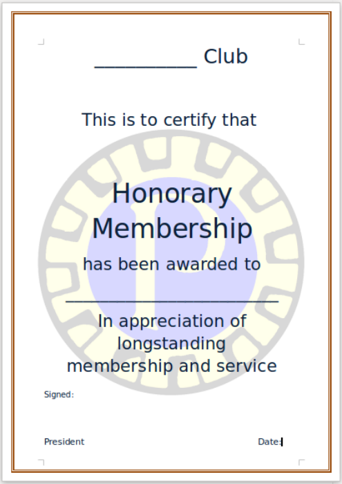 sample honorary membership certificate
