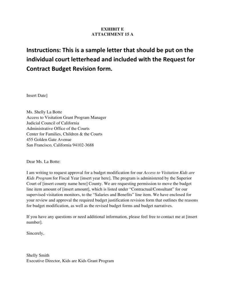 Sample Letter for Budget Request