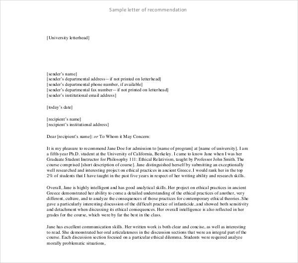 10 letter of recommendation for student pdf doc free premium templates