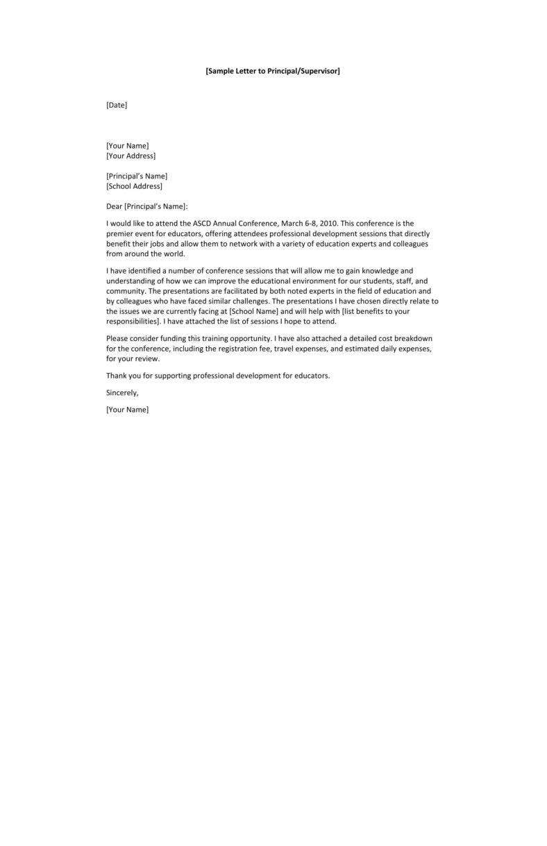 Sample Letter to Principal for Approval