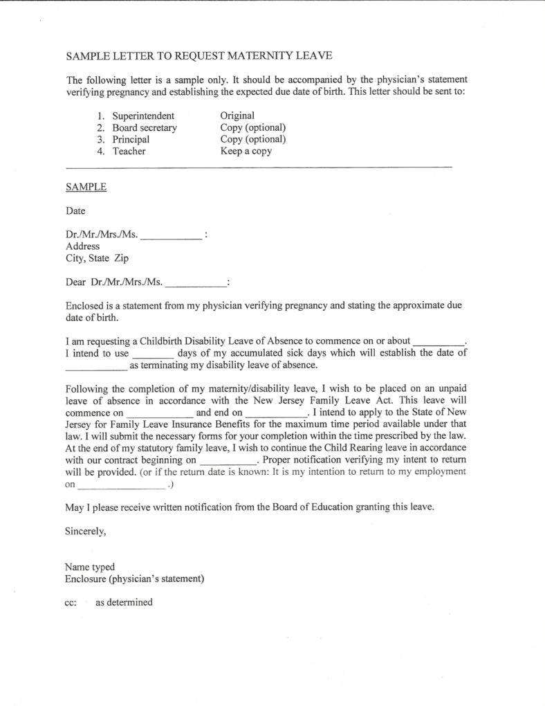 Sample Letter to Request Maternity Leave