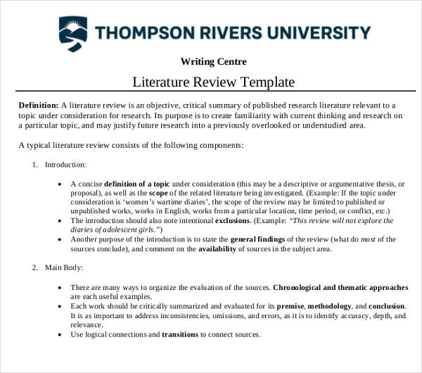 sample literature review template
