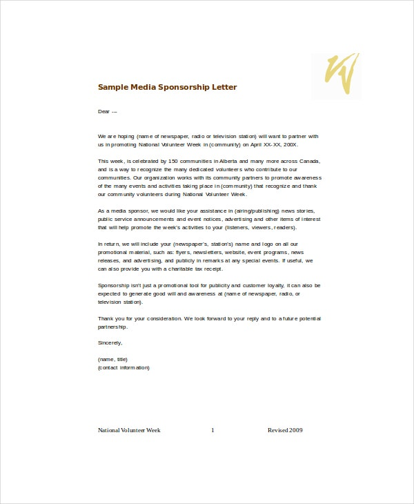 sample media sponsorship letter