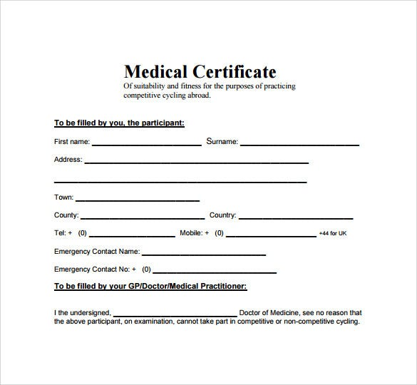 sample minimalist medical leave certificate template
