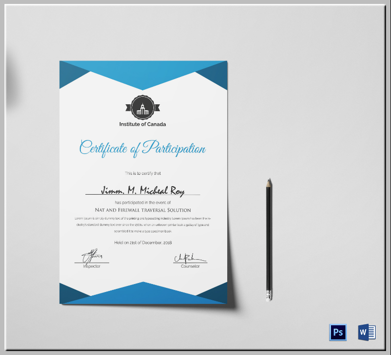 sample modern certificate of participation template 788x715