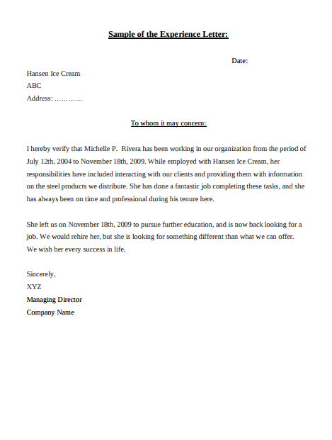 Sample Of The Experience Letter