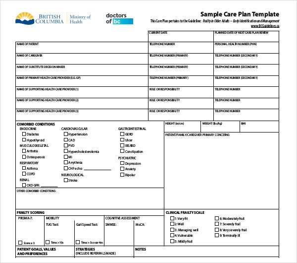 sample patient care plan template