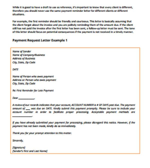 Sample Payment Request Letter