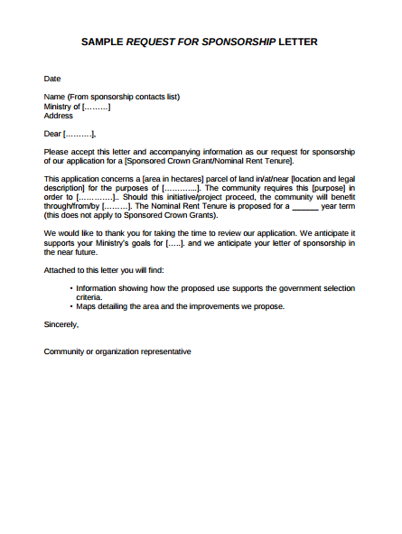Sample Request For Sponsorship Letter