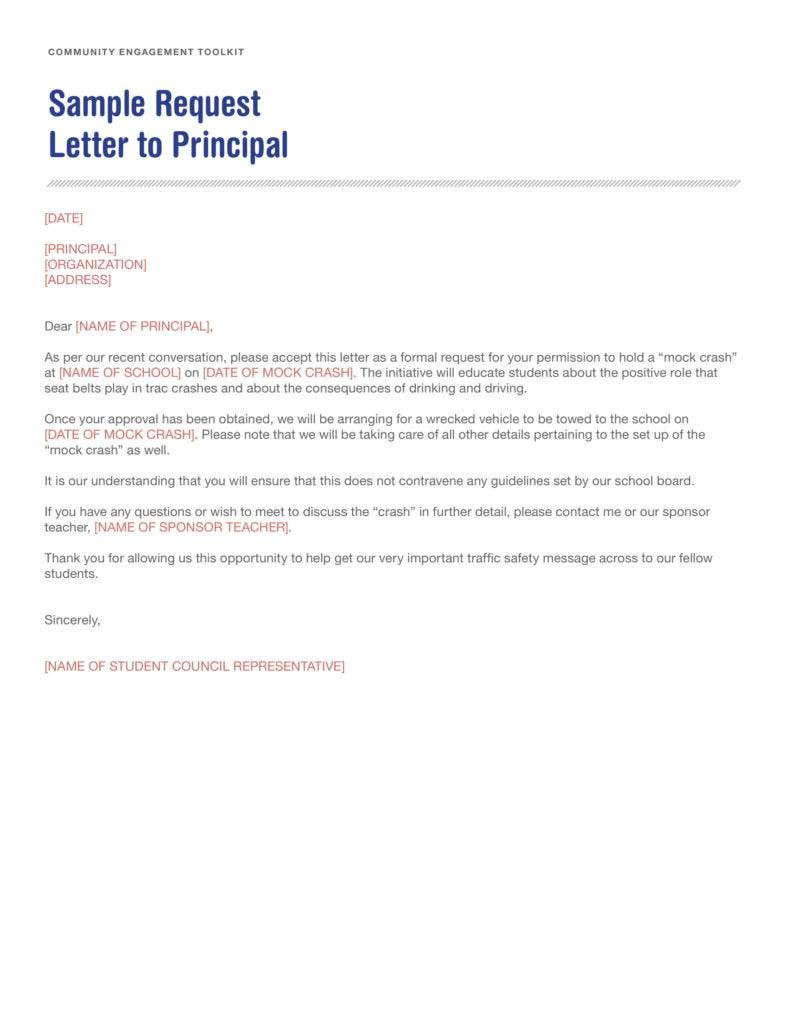 Sample Request Letter to Principal