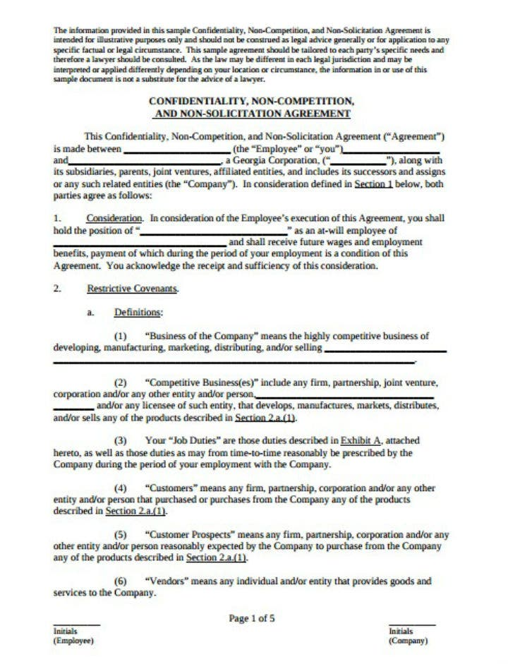 sample restaurant confidentiality non compete and non solicitation agreement template