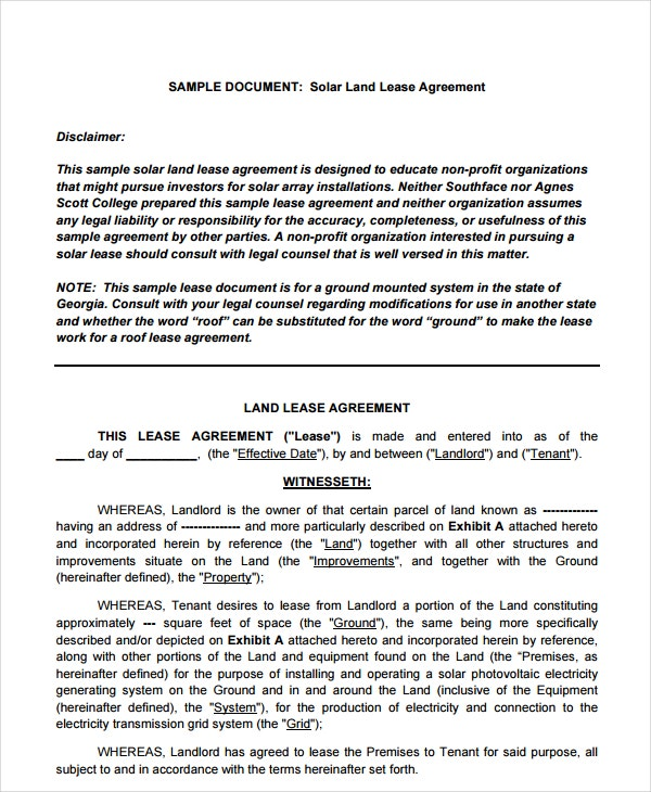 sample solar land lease agreement