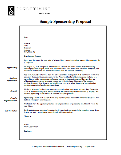 Sample Sponsorship Proposal