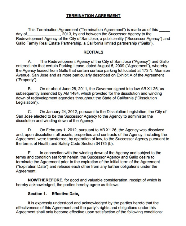 sample termination agreement