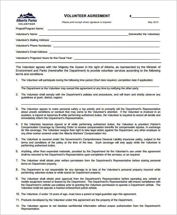 8 Volunteer Agreement Templates Pdf Doc Free Premium