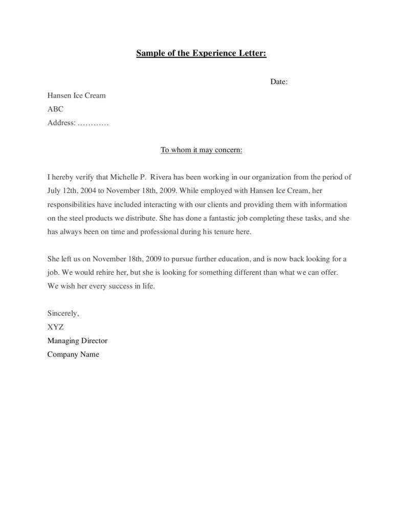 sample of work experience letter 788x1020